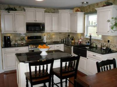 white cabinet doors during refacing
