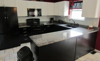 dark wood refaced cabinets