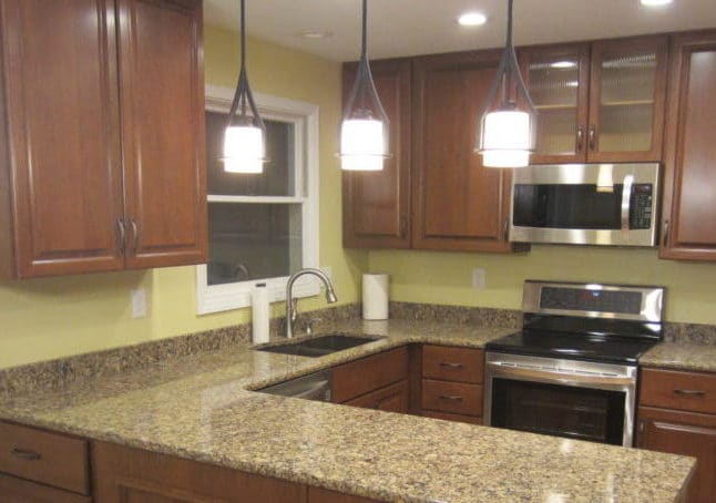 kitchen cabinet accents with glass doors